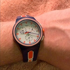 Swatch Blue and Orange with White Dial